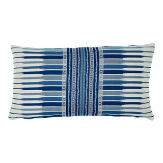 Schumacher Atchison Lumbar Pillow in Blue For Sale