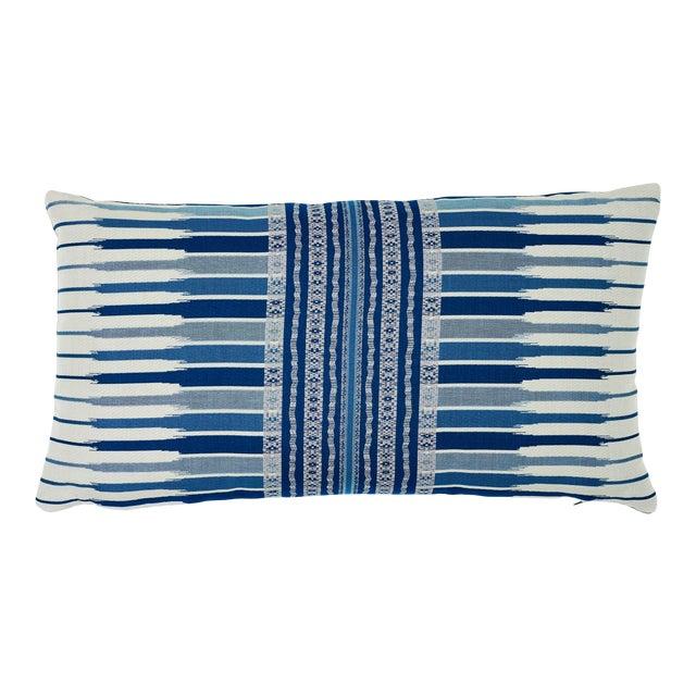 Schumacher Atchison Lumbar Pillow in Blue For Sale