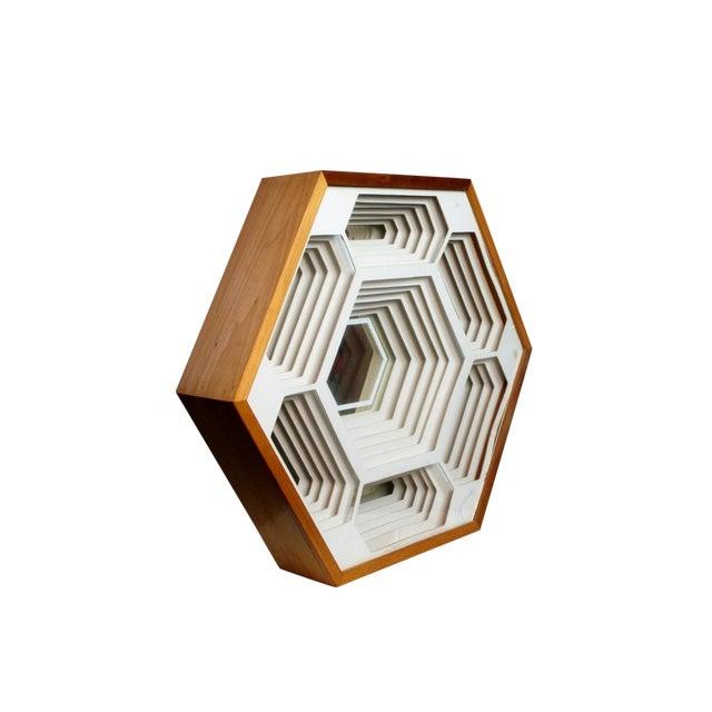 1970s Modern Greg Copeland Honeycomb Paper Sculpture Mirror For Sale