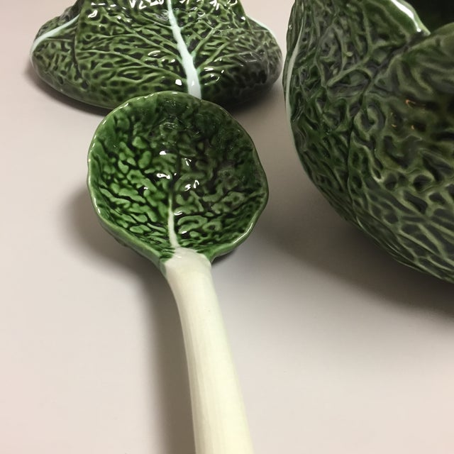 Green Green Cabbage Leaf Figural Tureen and Ladle For Sale - Image 8 of 13