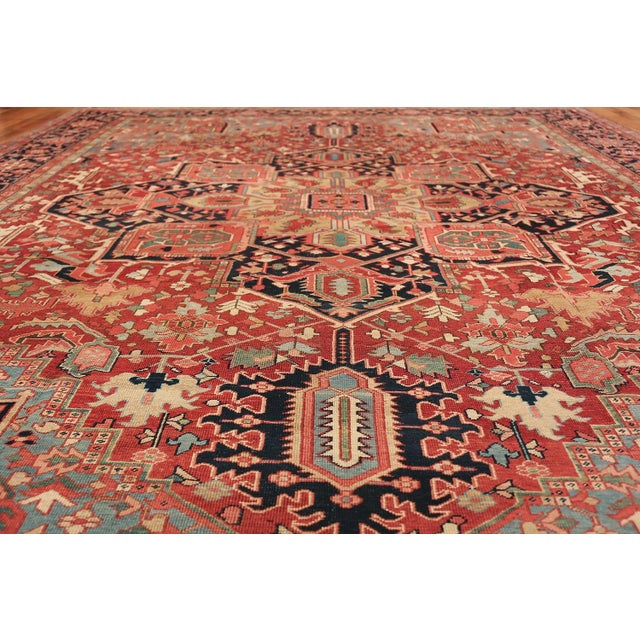 Islamic Room Size Antique Persian Heriz Geometric Rug - 11′ × 14′5″ For Sale - Image 3 of 13