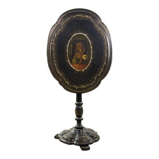 19th C. Victorian Papier-Mâché Oval Tilt-Top Table