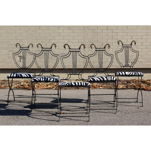 For your consideration is a fantastic, Italian Lyre wrought iron dining set, including a table with no glass top and five...