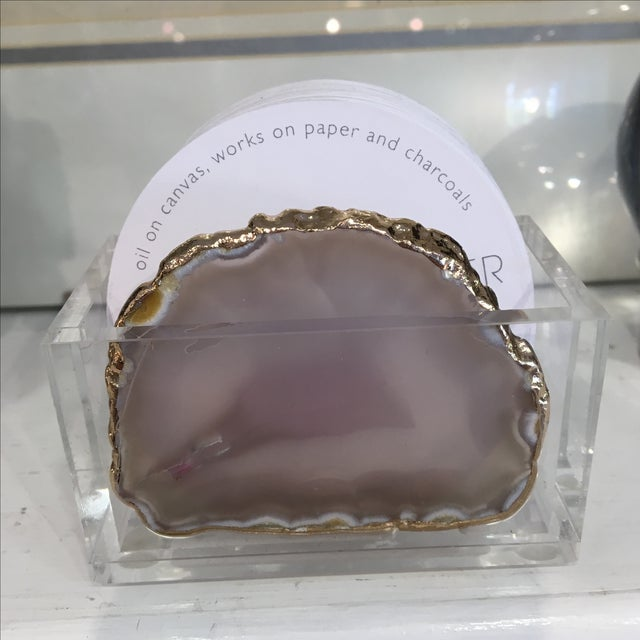 Lucite and Agate Business Card Holder - Image 7 of 10