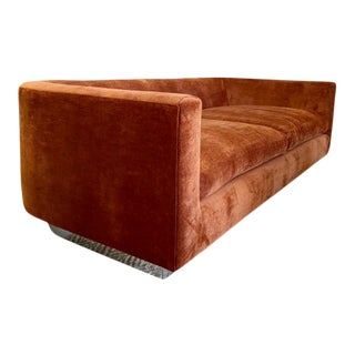 Milo Baughman Style Rust Velvet Rounded Sofa For Sale
