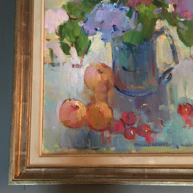 """""""Lilacs in a Blue Jug"""" Painting by Kanya Bugreyev For Sale In Los Angeles - Image 6 of 11"""