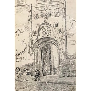 1920s Medieval Gothic Doorway Architectural Drawing For Sale