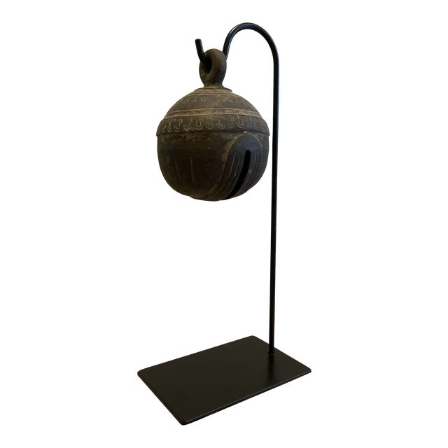 Antique Metal Elephant Bell on Stand For Sale