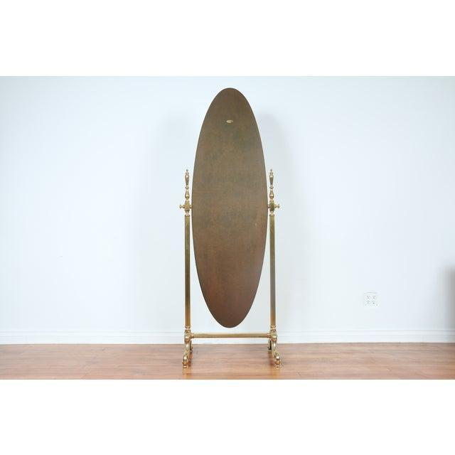 Gold Brass Vintage Floor Mirror - Image 2 of 11