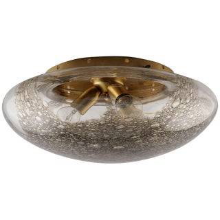 Mid-Century Barovier & Toso Flush Mount Fixture with Mottled Glass For Sale