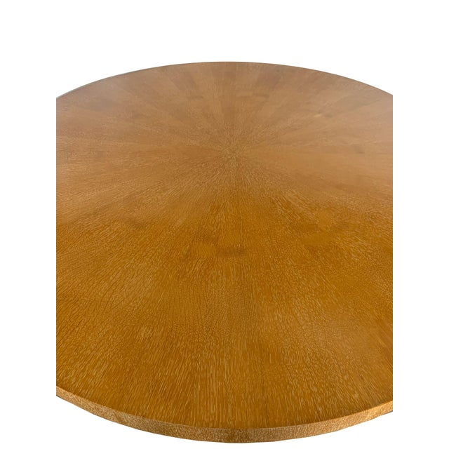 Late 20th Century Vintage Oak Veneer Round Dining Table For Sale - Image 5 of 10