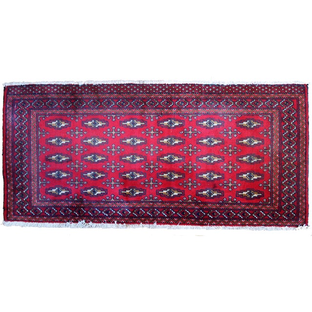 Islamic 1970s Hand Made Vintage Turkoman Tekke Rug - 2' X 4.4' For Sale - Image 3 of 7
