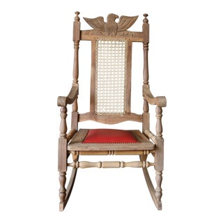 Vintage Carved Eagle Wood Rocking Chair For Sale