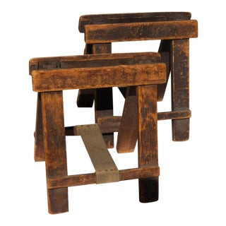 Industrial Table Top Folding Sawhorses - a Pair For Sale