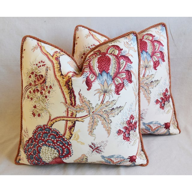 """Designer Bennison Dragon Flower Floral Linen Feather/Down Pillows 22"""" Square - Pair For Sale In Los Angeles - Image 6 of 12"""