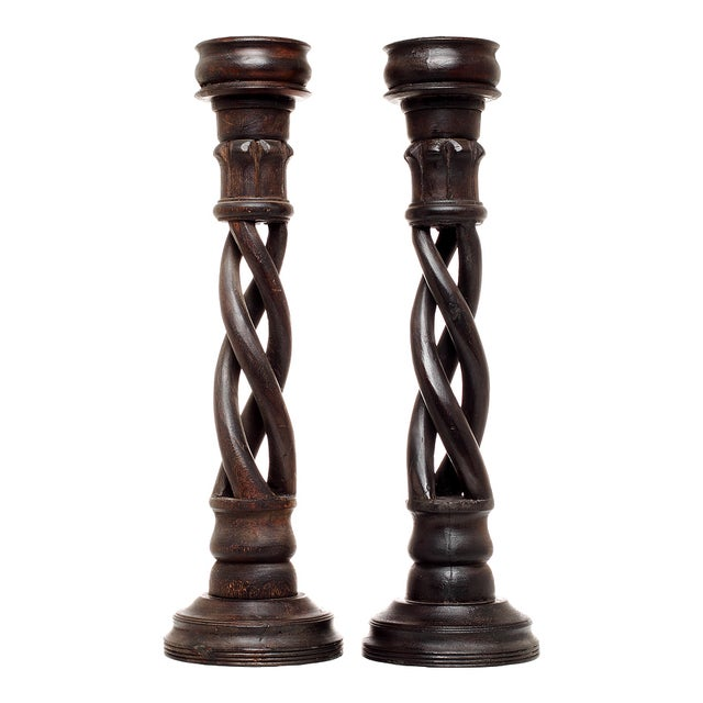 Vintage Indian Spiral Altar Candle Holders - Pair For Sale