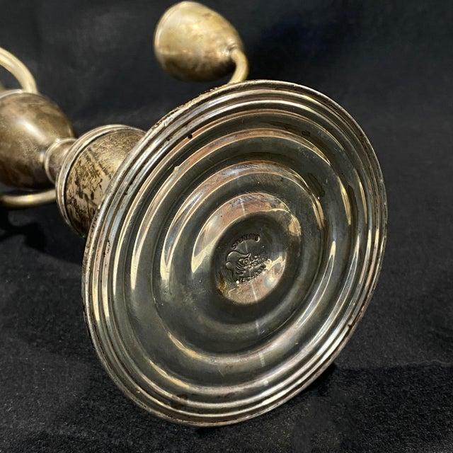 Vintage Art Deco Sterling Silver Candlestick Holder Candelabra's - a Pair For Sale - Image 10 of 12