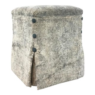Caracole Couture Modern Grey and Turquoise Cut Velvet Hide and Seek Storage Ottoman For Sale