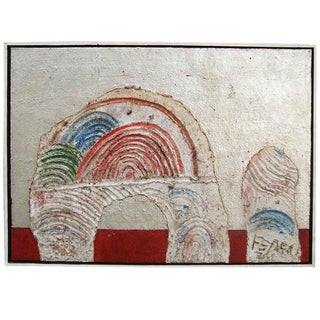Abstract 1970s Francesco Fedeli Mixed Media Painting For Sale