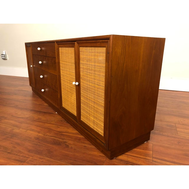 Drexel Declaration Walnut Sideboard With Cane Accents For Sale In Seattle - Image 6 of 12