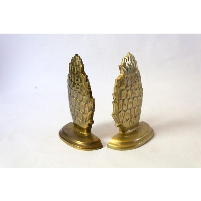 1970s 1970s Vintage Brass Pineapple Bookends - A Pair For Sale - Image 5 of 7