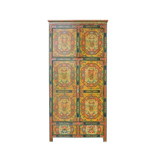 Chinese Tibetan Jewel Flower Graphic Tall Storage Cabinet For Sale