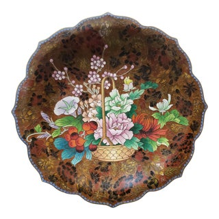 Circa 1900 Chinese Cloisonne Gilt Brass Flower Basket Motif Pointed Scalloped Edge Plate For Sale