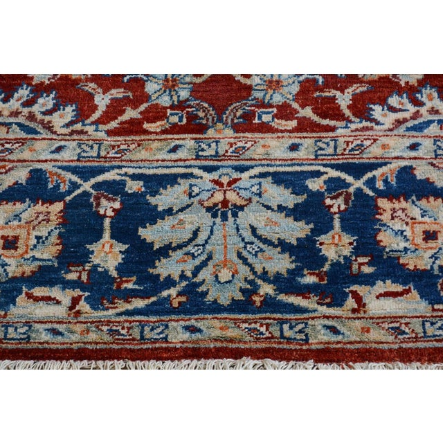 Kafkaz Peshawar Abe Rust/Blue Hand-Knotted Rug - 6'0 X 7'11 For Sale - Image 4 of 8