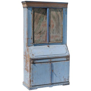 Blue Painted Swedish Secretaire For Sale