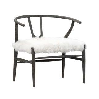 White Fur Grey Oak Chair For Sale