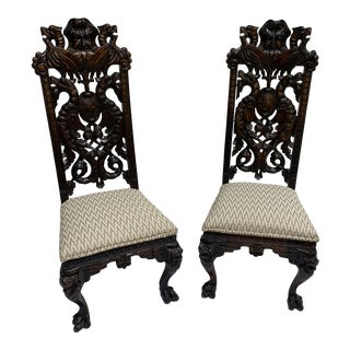 Carved Wood North Wind Face Gothic Chairs For Sale