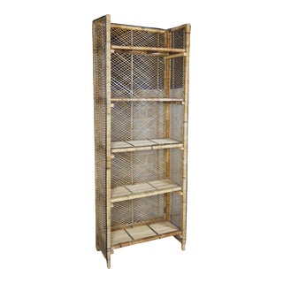 1960s Mid Century Rattan & Wicker Folding Bookcases For Sale