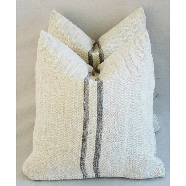 French Grain Sack Pillows - A Pair - Image 2 of 11