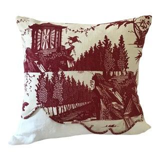 """Antique French Toile De Nantes Print """"Le Char De L'aurore"""" Pillow For Sale"""