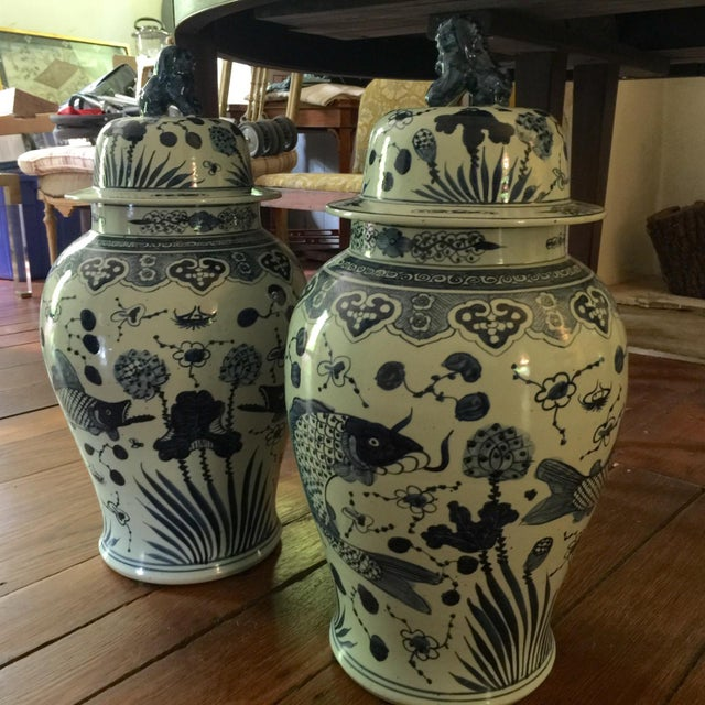 Pair of Chinese Blue & White Temple Jars - Image 3 of 4