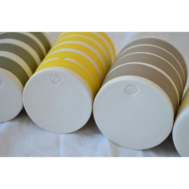 Abstract Contemporary Ceramic Multi Striped Cylindrical Vessels - Group of 5 For Sale - Image 3 of 13