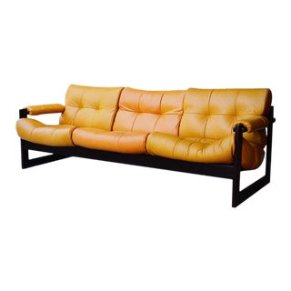 Mid-Century Percival Lafer Brazilian Leather Sofa For Sale