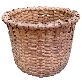19th Century American Oak Splint Basket For Sale