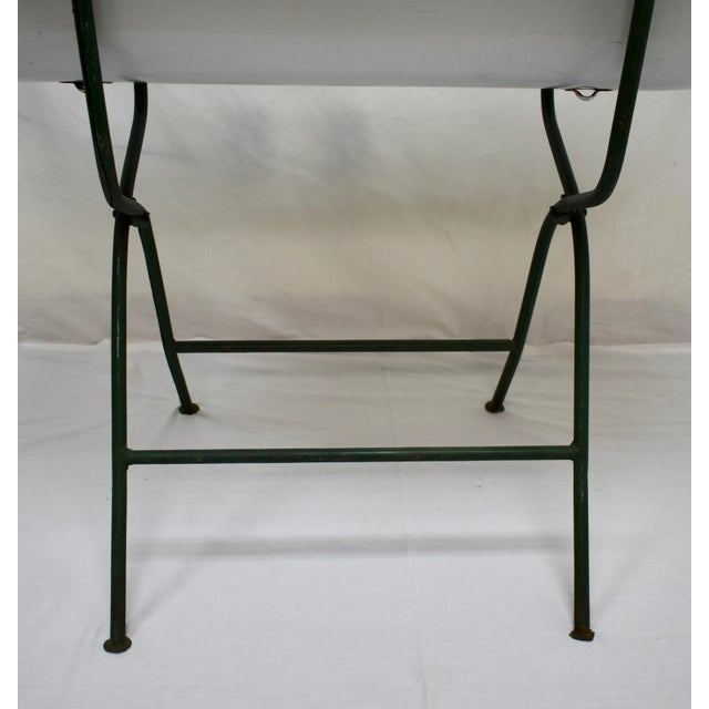 Vintage Porcelain Enamel Baby Bath on Folding Wrought Iron Stand For Sale - Image 9 of 13