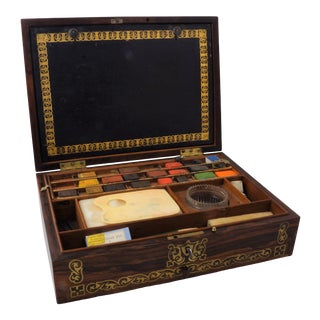19th C. Brass Inlaid Rosewood Artist Box For Sale