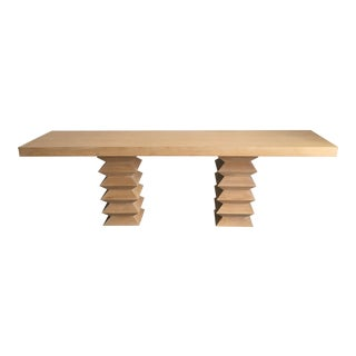 Mid-Century Console Pedestal Leg Table