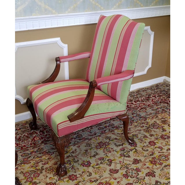 Martha Washington Mahogany Chippendale Style Southwood Furniture Gainsborough Armchairs - A Pair For Sale - Image 9 of 10