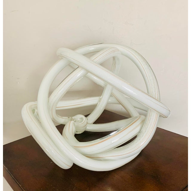 Gigantic Luxury Gilt White Art Glass Knot For Sale In San Diego - Image 6 of 6