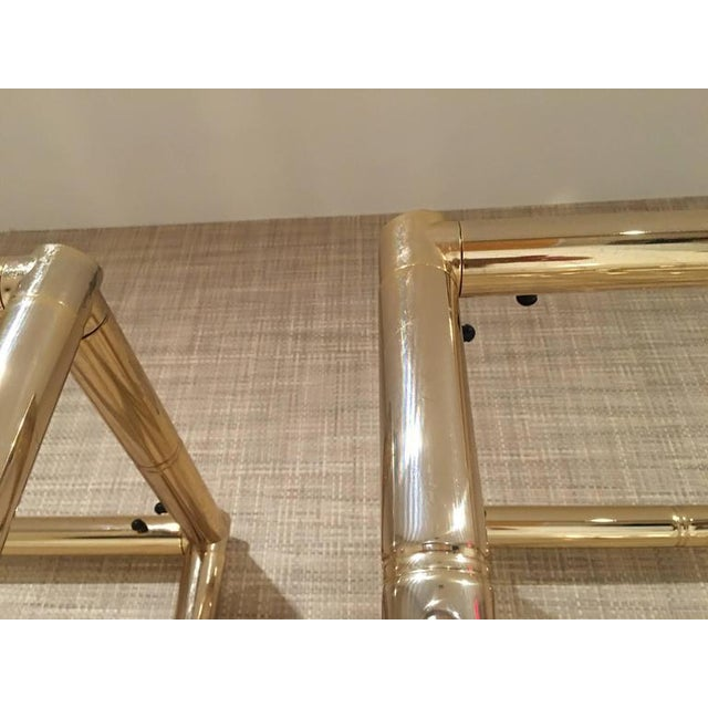 Faux Bamboo Brass Etagere Display Shelves - A Pair For Sale - Image 10 of 12