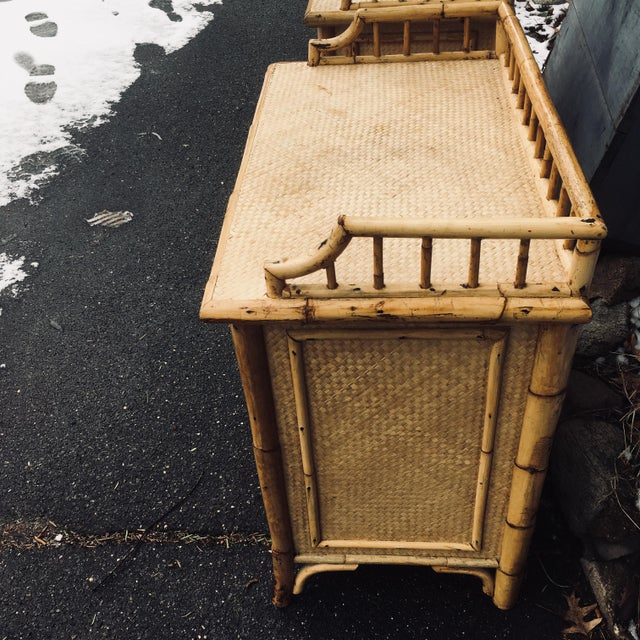 Mid century modern/Hollywood regency. Calif-Asia and Cartel. Made in the 1970's. Rattan with woven reed. Very good vintage...