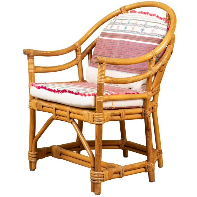 Vintage Rattan Chair With Injiri Cushions For Sale - Image 9 of 9