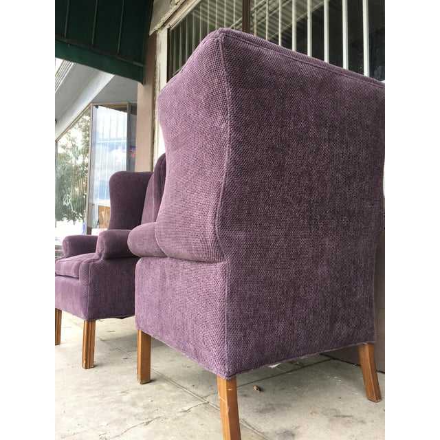 Purple 1970s Vintage Wingback Chairs- A Pair For Sale - Image 8 of 10