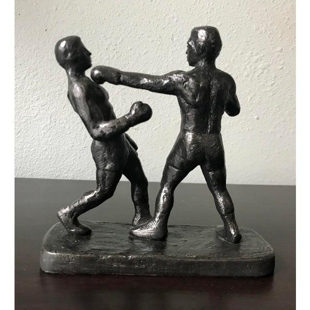American 1970s Vintage Spectrum Arts Brutalist Boxing Greg Wyatt Cast Bronze Statuttete For Sale - Image 3 of 10