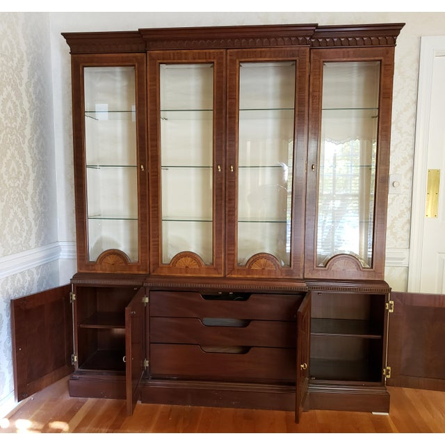 Councill Furniture Councill Craftsman Inlaid Banded Flame Mahogany China Cabinet For Sale - Image 4 of 12