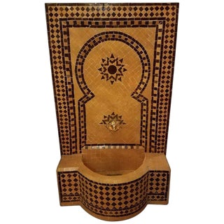 Modern Yellow and Brown Moroccan Mosaic Tile Fountain For Sale